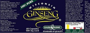 Kaiser Farms Wisconsin Ginseng Nutrition Facts